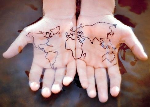 Startling World Map Tattoo Designs