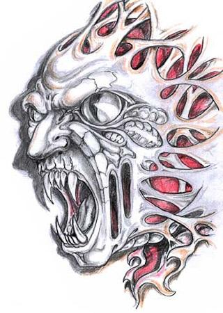 Bio Mechanical Monster Tattoo Design