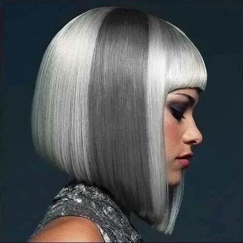 Gray Coloured Asymmetrical Hair