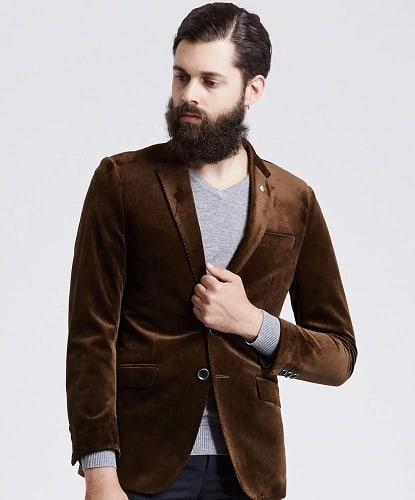 Brown Velvet Blazer For Men