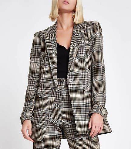 Brown Check Blazer For Women