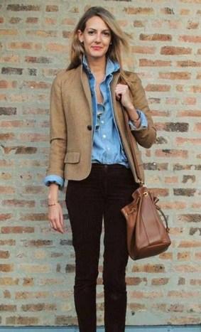 Brown Casual Blazer Women