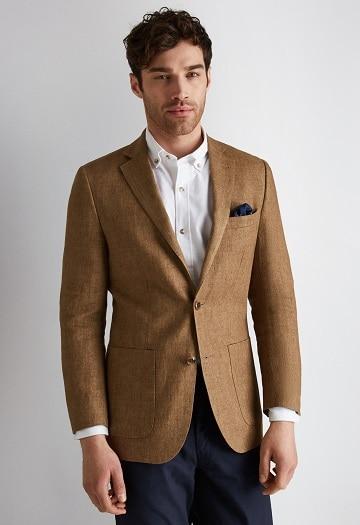 Brown Linen Blazer For Men