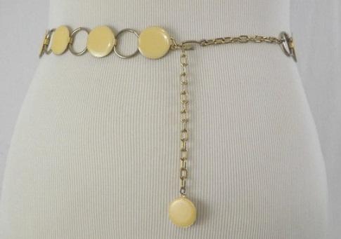 Pale Yellow Enameled Chain Belt