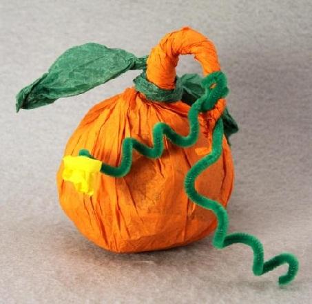 Tissue Paper Pumpkin Crafts
