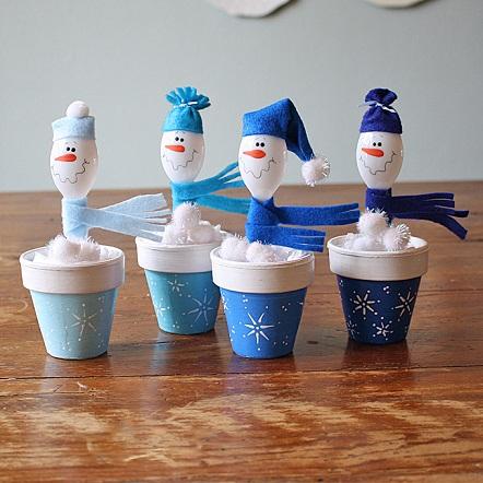 Plastic Spoon Snowman Crafts