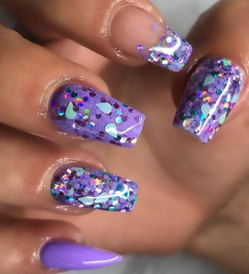 Glittering Winter Nail Art