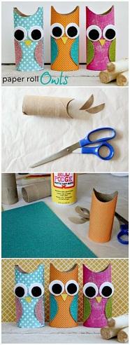 Paper Roll Owls Craft