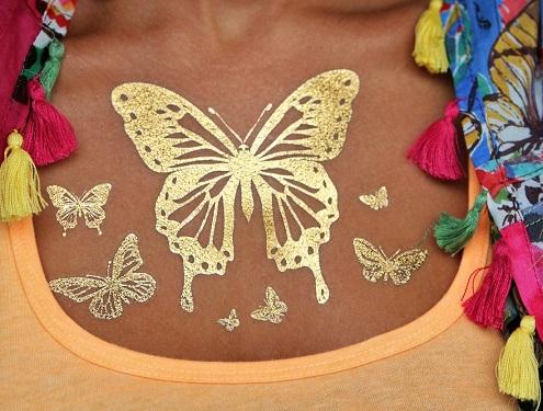 Butterfly Design Metallic Tattoo