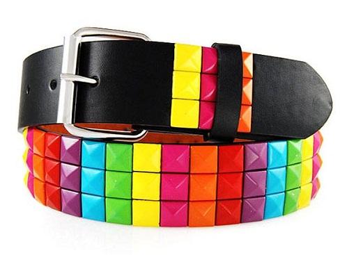 Colorful Square Plastic Studded Women Belt