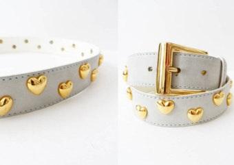 Golden Heart Studded White Women Belt