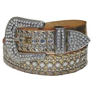 Mirror Studded Golden Women Belt