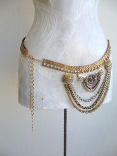 Jewel Studded Ivory Vintage Women Belt