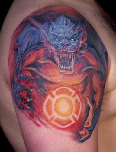 Fighter Gargoyle Tattoo Design
