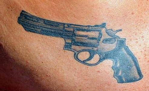 Revolver Western Tattoo Design