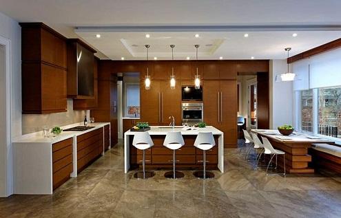 Interior design hall with kitchen