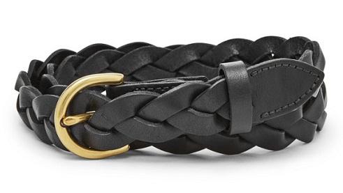 Woven Braided Women's Black Belt