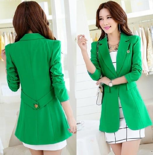 Long Green Blazer Women