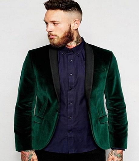 Green Velvet Blazer Men