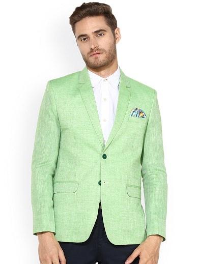 Green Linen Blazer Men