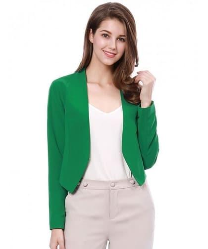 Green Cropped Blazer Women