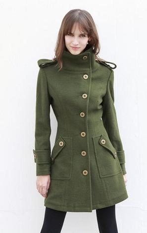 Thigh Length Tailored Green Blazer