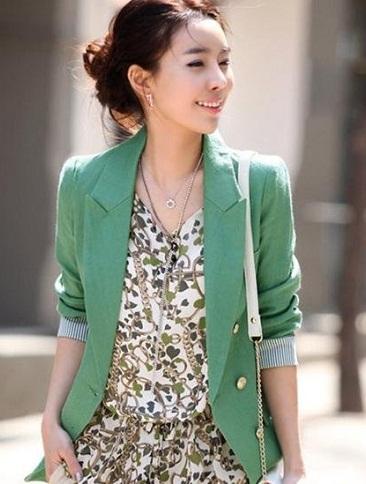 Women Green Blazer