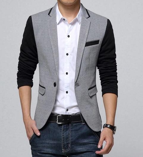 Grey Cotton Blazer Men