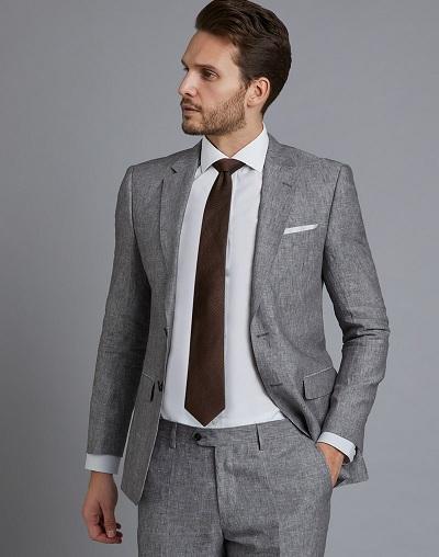 Grey Men's Linen Blazer