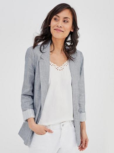 Grey Casual Blazer Women