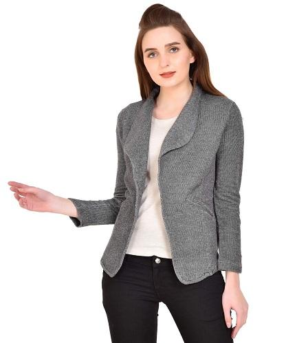 Grey Textured Blazer Women