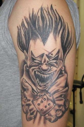 Evil clown tattoo design