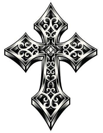 Hypnotic tribal cross tattoo design