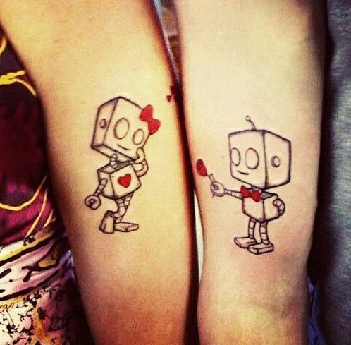 Matching Robot Tattoo Design