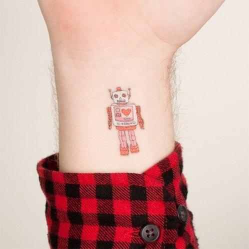 Simple Robot Tattoo Design