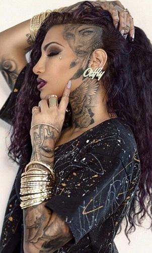 Girls Face Side Head Tattoo