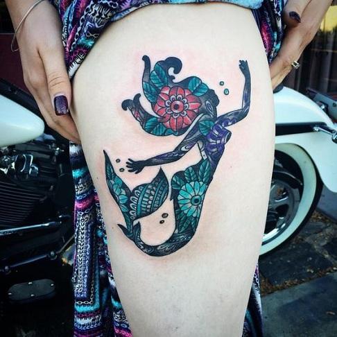 Impressive Mermaid Ocean Tattoo Designs