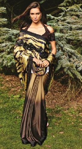 Dark Golden Brown Contemporary Saree Blouse