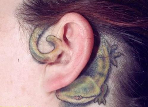 Scary Gecko Tattoo Design