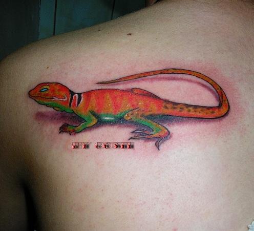 3D Gecko Tattoo Design