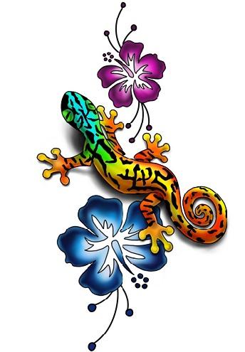 Artistic Gecko Tattoo Design