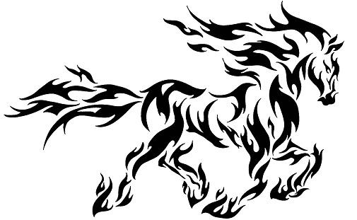 Tribal Gothic Horse Tattoo Design