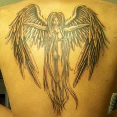 Sensational Gothic Angel Tattoo Design