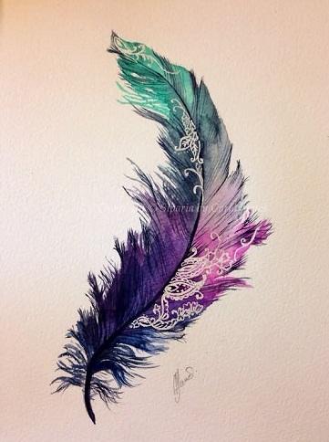 Impressive Feather Watercolour Tattoo Design