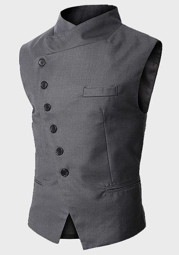 Asymmetric Slim grey vest