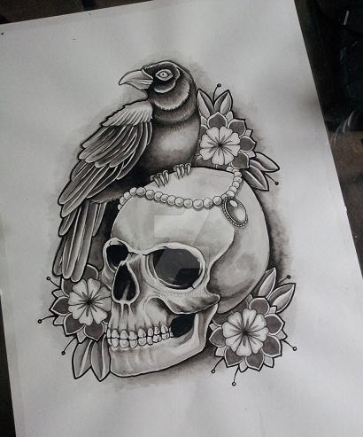 Victorian Crow Tattoo Designs