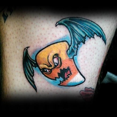Flying Pumpkin Tattoo Design