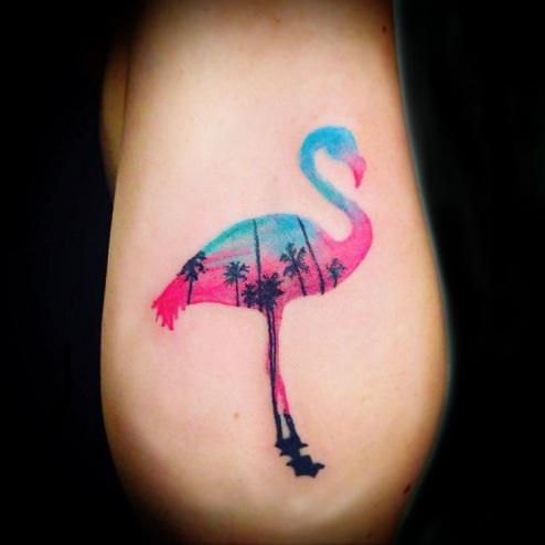 Flamingo Tattoos reflecting nature beauty
