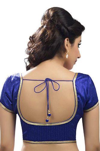 Blue Round Neck Blouse Design 9