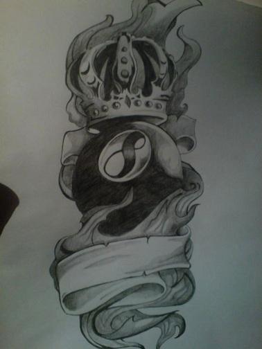 King of Pool Eight Ball Tattoo Designs